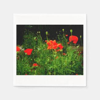 Vintage Mohnblumen Papierserviette