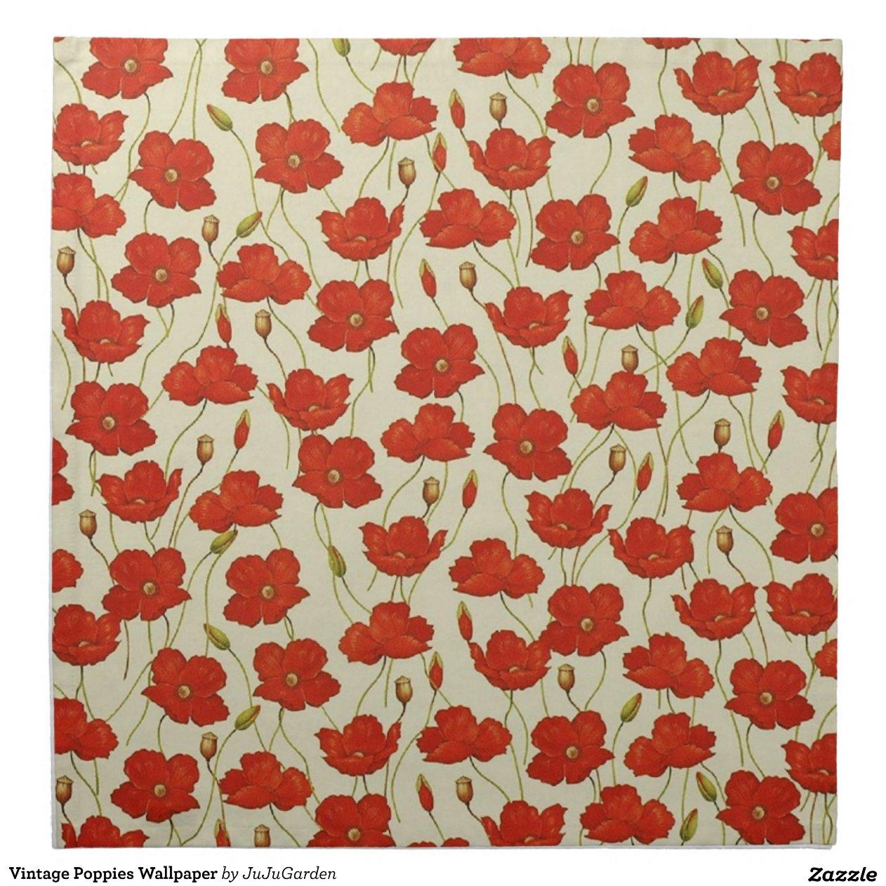 Individuell Bedruckte Tapete : Vintage Mohnblumen-Tapete Bedruckte Serviette Zazzle