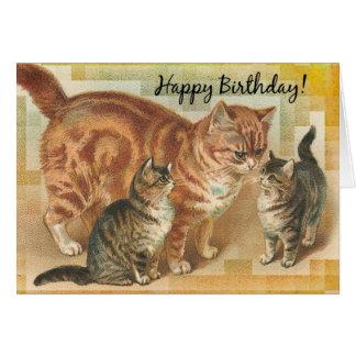 Vintage Momma Katze und Kätzchen, Geburtstag Grußkarte