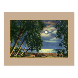Vintage Mondscheinstrandansicht Miami Beach Postkarten