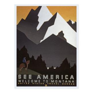 Vintage Montana-Reise-Postkarte Postkarte