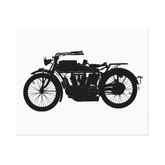 Vintage Motorrad-Silhouette im reichen Schwarzen Leinwanddruck