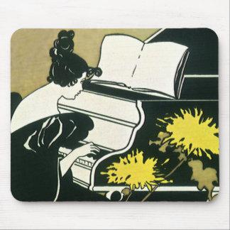 Vintage Musik, Fräulein Traumerei Playing Piano, Mauspads