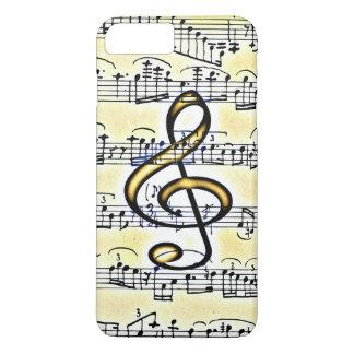 Vintage Musik-Goldfarbdreifacher Clef iPhone 8 Plus/7 Plus Hülle