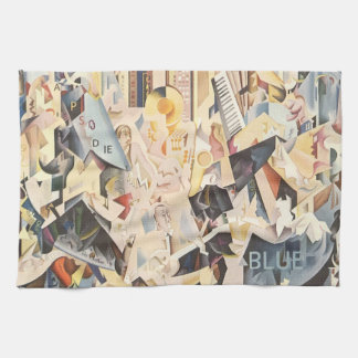Vintage Musik, Kunst-Deko-Jazz, Rhapsodie im Blau Handtuch