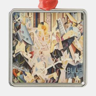 Vintage Musik, Kunst-Deko-Jazz, Rhapsodie im Blau Silbernes Ornament