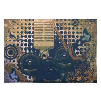 Vintage Musik Microphone2 Stofftischset