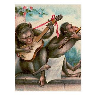"""""""Vintage musikalische Affe-"""" Postkarte"""