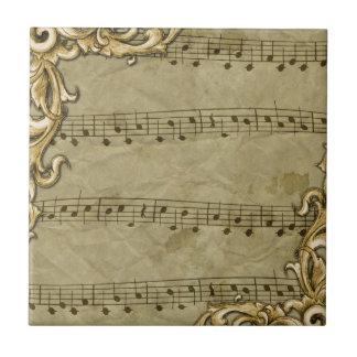 Vintage Musiknoten-Goldrahmen-Kunst Keramikfliese