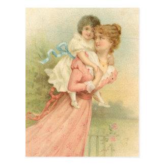 Vintage Mutter-Tagesmutter und -kind Postkarte