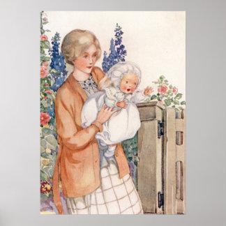 Vintage Mutter und Baby durch Anne Anderson Poster