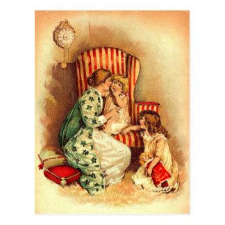 Vintage Mutter und Kinder - der Tag der Mutter Postkarte