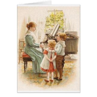 Vintage Mutter und Kinder mit Klavier-Karte