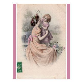 Vintage Mutter und Tochter Postkarte
