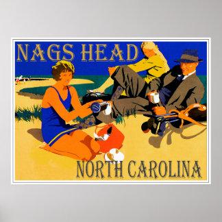 Vintage Nags-Hauptstrand-Szene Poster