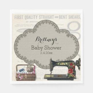 Vintage nähende Baby-Dusche Servietten