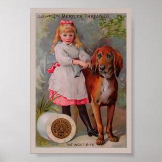 Vintage Nähgarn-Anzeige Poster