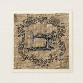 Vintage Nähmaschine-Leinwand Papierserviette