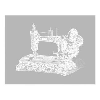 Vintage Nähmaschine - Retro Maschinen-weißes Grau Postkarte
