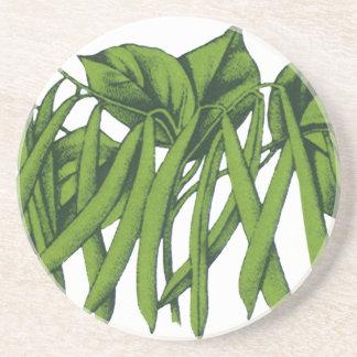 Vintage Nahrung, Bio grüne Bohnen-Gemüse Sandstein Untersetzer