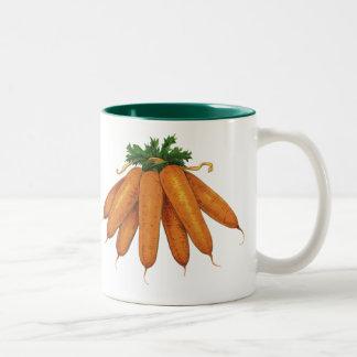 Vintage Nahrung, Bündel Bio Karotten-Gemüse Zweifarbige Tasse
