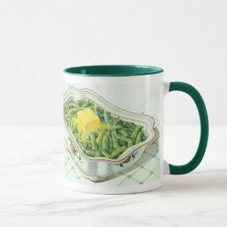 Vintage Nahrung, grüne Bohnen-Kasserolle mit Tasse