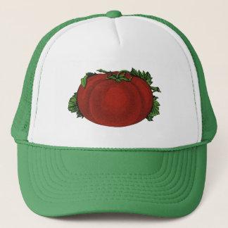 Vintage Nahrungsmittel, reife Tomate, Gemüse und Truckerkappe