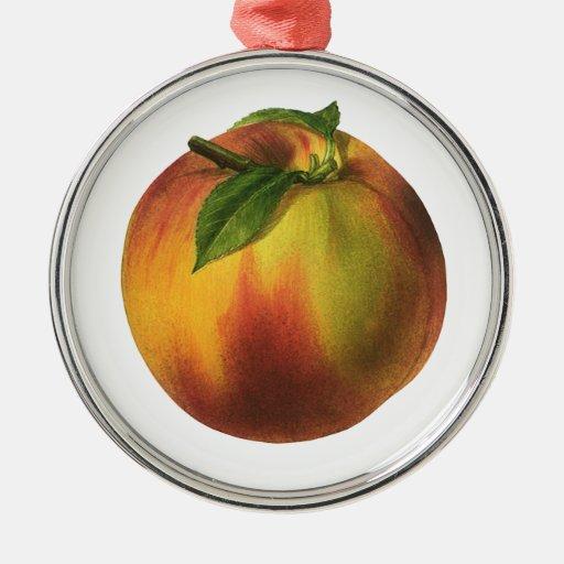 Vintage Nahrungsmittelfrucht, runder reifer Pfirsi Weihnachtsbaum Ornament