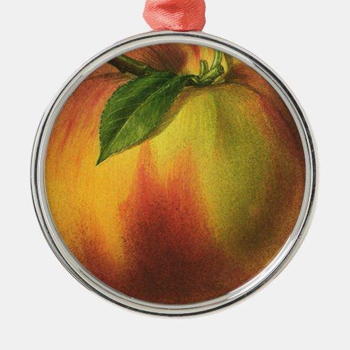 Vintage Nahrungsmittelfrucht, runder reifer Pfirsi Ornamente