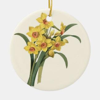 Vintage Narzissen-runde Verzierung Rundes Keramik Ornament