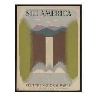 Vintage Nationalpark-Reise-Postkarte Postkarte