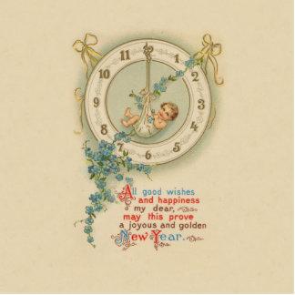 Vintage neue Jahre Baby-Uhr- Freistehende Fotoskulptur