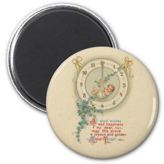 Vintage neue Jahre Baby-Uhr- Runder Magnet 5,1 Cm