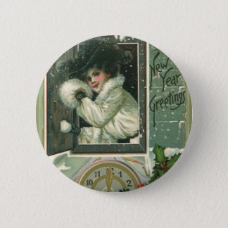 Vintage neues Jahr-Grüße, viktorianisches Runder Button 5,7 Cm