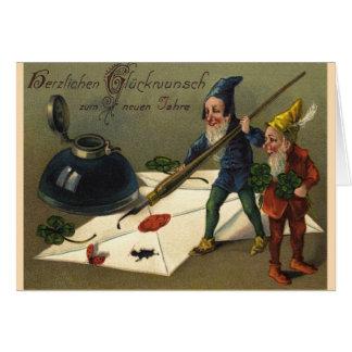"Vintage Neujahrskarte ""Zwerge"" Grußkarte"