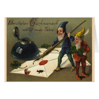 "Vintage Neujahrskarte ""Zwerge"" Karte"