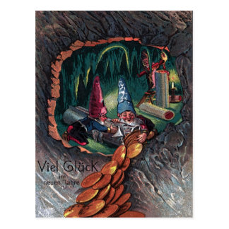 """Vintage Neujahrskarte """"Zwerge"""" Postkarte"""