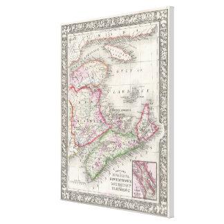 Vintage Neuschottland- und Brunswickkarte (1866) Leinwanddruck
