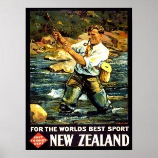 Vintage Neuseeland-Sport-Fischen-Reise Posterdruck