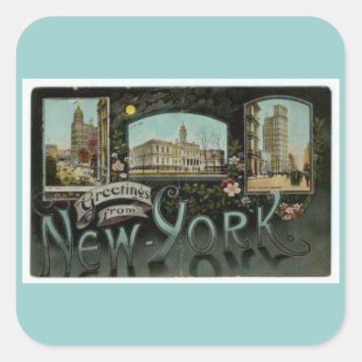 Vintage New- York Cityaufkleber Quadratsticker