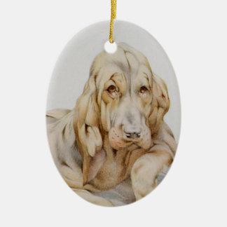 Vintage niedliche Bluthunde, Welpen-Hunde durch EJ Ovales Keramik Ornament