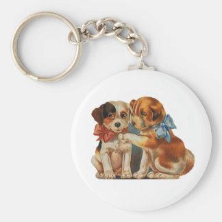 Vintage niedliche der Welpen-Liebe des Valentines, Schlüsselanhänger