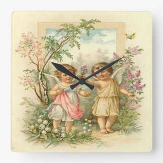 Vintage, niedliche Engel, die in den Garten gehen Wanduhr