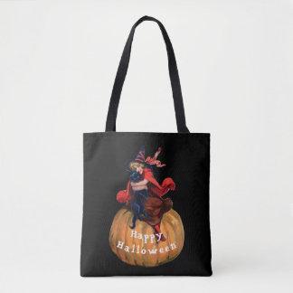 Vintage niedliche Hexe auf Kürbis mit Katze Tasche