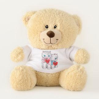 Vintage niedliche Katzen des Valentines Tages, Teddybär