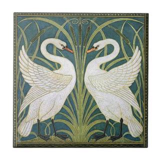 Vintage Nouveau Schwan-Keramik-Fliese Kleine Quadratische Fliese