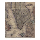 Vintage NYC und Brooklyn-Karte (1847) Poster