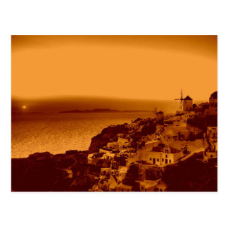 Vintage Oia-Sonnenuntergang Santorini Griechenland Postkarte