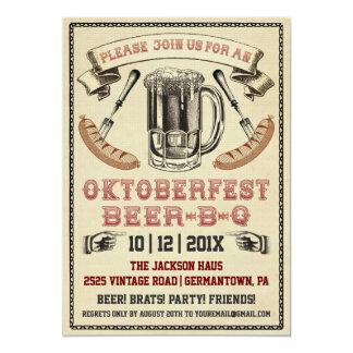 Vintage Oktoberfest Bier-B-q Party Einladung