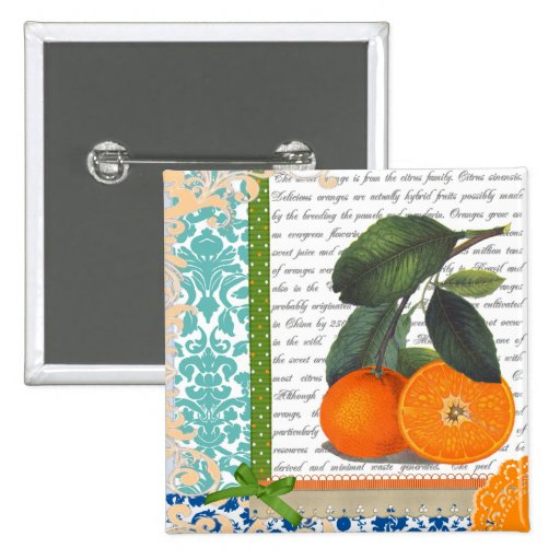 Vintage Orangen-Collage Anstecknadelbuttons